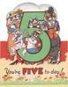 YOU'RE FIVE TO-DAY! large green 5 surrounded by 5 anthropomorphic cats