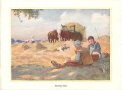 MID-DAY REST 3 farm workers rest for lunch in hay field, horses with hay on cart, 2 figures distant left