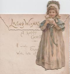 LOVING WISHES, girl in long dress & bonnet stands holding kitten