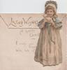 LOVING WISHES, girl in long dress & bonnet stands holding kitten