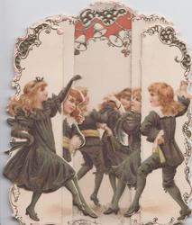 A HAPPY NEW YEAR below 6 red-headed girls dressed in black dance, perforated bell design above