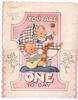 YOU ARE ONE TO-DAY 2 babies inset in large die-cut pink 1, baby in bassinet holds rattle, baby on blanket holds toy rabbit