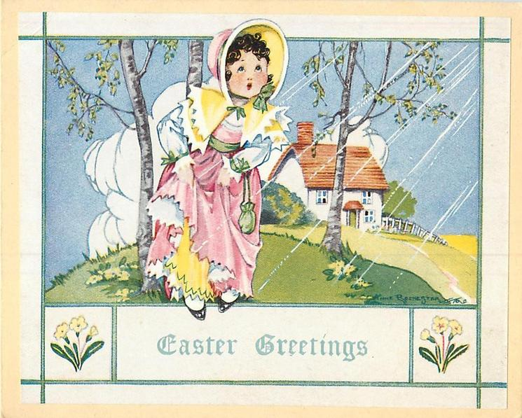 EASTER GREETINGS between yellow primroses, girl in old style dress faces front, rural setting with birch trees & house behind