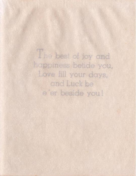 HERE'S LUCK ON YOUR SILVER WEDDING perforated, foil backed lettering, two bells & white flowers