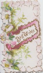 BEST WISHES in gilt on white plaque surrounded by glitter & pink margin, pale pink wild roses & fern left