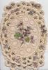 no front title perforated oval design, central violets on both flaps & around, marginal white & violets design