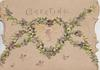 GREETINGS top, chains of violets around heart shaped plaque and marginal, cream background