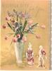 A LITTLE GIFT FOR YOU in gilt, above vase of tulips & irises, porcelain figurines of woman & man right