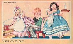 LET'S GO TO BED 3 children, girl left near stove, boy sits middle, girl right walks with candlestick