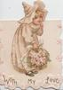WITH MY LOVE in gilt below blonde girl in old style dress faces & bends right, looks front, finger to mouth, holding large bouquet of pink roses
