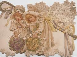 LOVING GREETINGS 2 blonde girls in old style dress with large bouquets of roses & violets, design above right