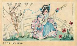 LITTLE BO-PEEP girl in striped pink & blue dress sits on white bench with shepherdess staff, 3 poppies right