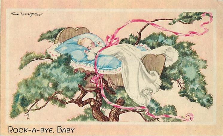 ROCK-A-BYE, BABY infant in tree top cradle secured with pink ribbon