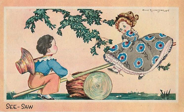 SEE-SAW boy & girl play on simple log see-saw