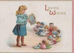 LOVING WISHES, girl stands playing teacher to half-circle of  seated toys