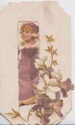 no front title, girl in purple dress seen through large perforation, violets lower right