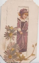 no front title, girl in purple dress seen through large perforation,daisies lower left