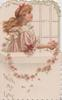 WITH MY LOVE head & sholder study of red-headed girl facing right holding chain of pink wild roses