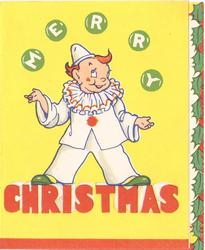 MERRY CHRISTMAS clown juggles green balls spelling M-E-R-R-Y, yellow background, panel of holly right