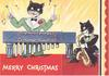 MERRY CHRISTMAS two cats: one plays xylophone, the other saxophone