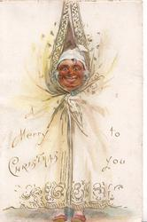 A MERRY CHRISTMAS TO YOU a macabre old face peeking through curtain on each flap