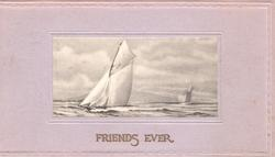FRIENDS EVER in gilt, insedt of 2 sailing boats on ocean, wide lilac coloured  margin