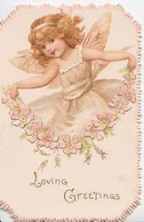 LOVING GREETINGS girl dressed as a fairy holding up chain of wild roses