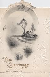GLAD GREETINGS in gilt below grey & white watery wintry rural scene, marginal white embossed design with bells right