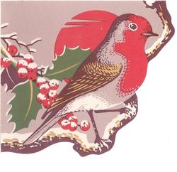 A VERY HAPPY CHRISTMAS robin perched on branch faces right, snow covered holly