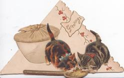 GREETINGS in small plaque on triangular shaped card, 2 kittens lick wooden spoon, pudding behind