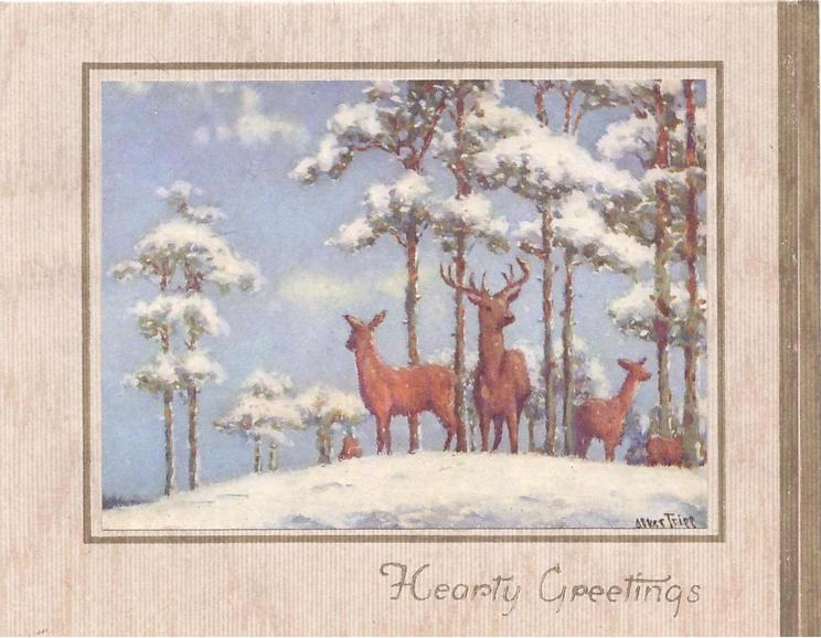 HEARTY GREETINGS below inset rural scene with deer on snowy mound, snow filled arbutus trees
