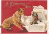 A CHRISTMAS BOX in gilt on deep purple background, terrier has torn open box to find cat inside