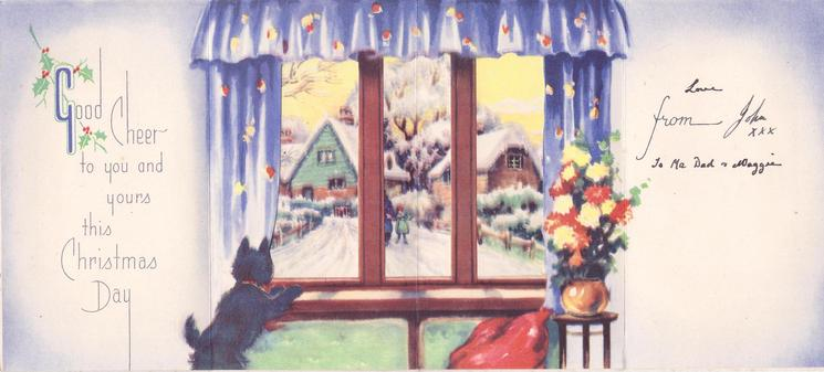 CHRISTMAS GREETINGS in red,  black dog looks out window, holly & snow