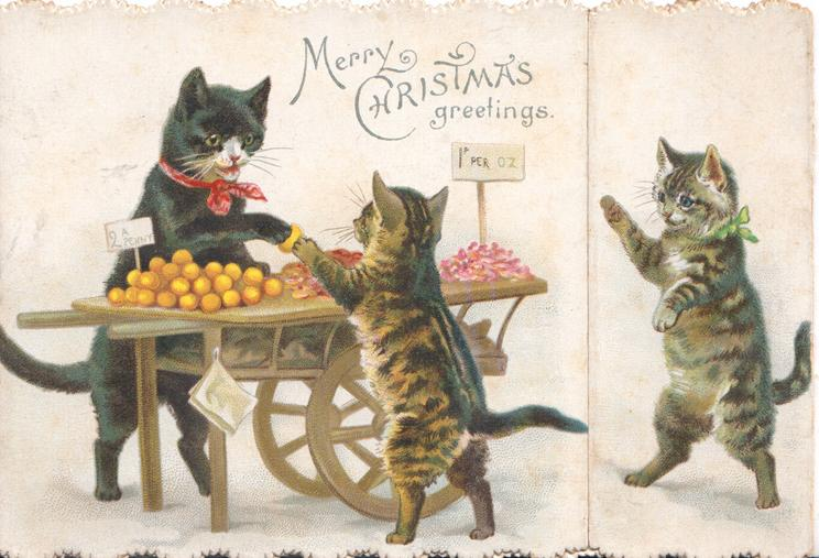 MERRY CHRISTMAS GREETINGS cat sells kitten an orange from barrow, another walks in from right