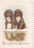 MERRY CHRISTMAS GREETINGS in gilt below 2 puppies one stands, one sits across water