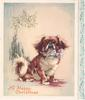 A HAPPY CHRISTMAS Japanese spaniel with mauve bow sits under mistletoe, decorative panel right