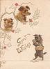 GOOD WISHES in gilt left of dog carying basket & below 2 dogs heads framed in holly