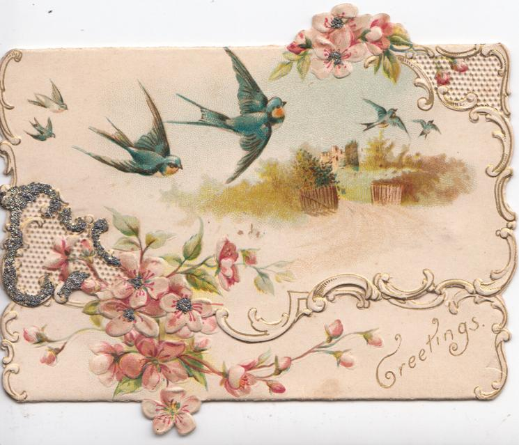 GREETINGS in gilt below pink wild roses & perforated glittered design with swallows flying above