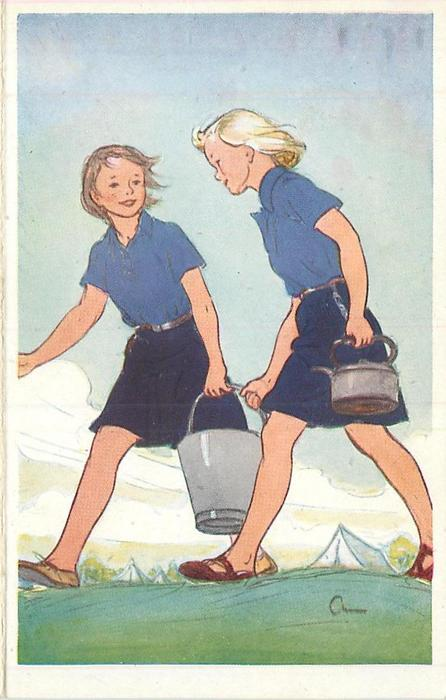 no front title, two girl guides walk left, one carries bucket & the other carries a kettle, tents in distance