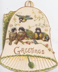 GREETINGS in gilt on white bell-shaped card, 5 blue-tits perched on floral spray & one flies