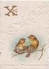 XMAS (X illuminated) in gilt tolp left, 2 English robins perch, one holds a flower the other a fan, stylised white ivy