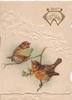 BEST WISHES(W illuminated) in gilt top right, 2 English robins perch, one holds a flower the other a fan, stylised white mistletoe