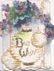 BEST WISHES(B & W illuminated & glittered)  in gilt on Japanese lanterns below violets