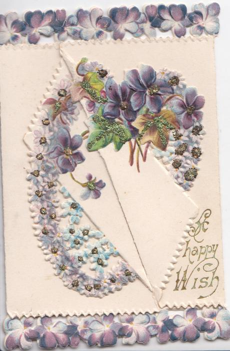 A HAPPY WISH below right, complex glittered design of violets over all flaps