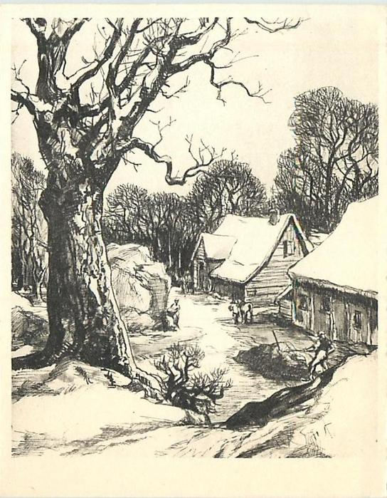 no front title, rural winter scene with farm workers & buildings, prominent leafless tree left, many trees in distance