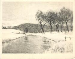 no front title, wide stream in winter divides snowy banks, row of trees right
