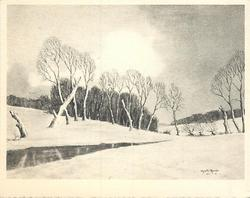no front title, rural winter scene with many barren trees, vast snowy ground with small creek from left