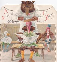 A BRUSH UP FOR XMAS bear barber with scissors above dressed poulry sitting in waiting room