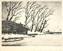 no front title, wooden structures & canoe at water's edge, row of snowy leafless trees behind, buildings distant right