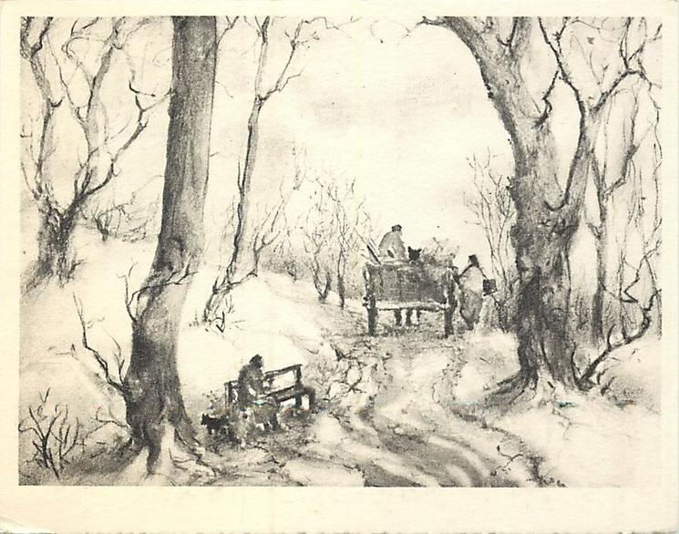 no front title, path through trees with person on bench left & horse-cart facing away